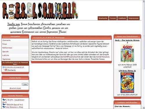 Die Homepage in ihrer ersten Ausführung